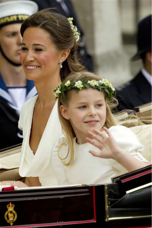 Pippa Middleton appears at her sister Kate Middleton&#39;s Royal Wedding to Prince William at Westminster Abbey in London on April 29, 2011. Pippa became famous due to her a cowl-neck, body-hugging, ivory bridesmaid gown by Sarah Burton at Alexander McQueen. <span class=meta>(Guido Ohlenbostel &#47; Startraksphoto.com)</span>