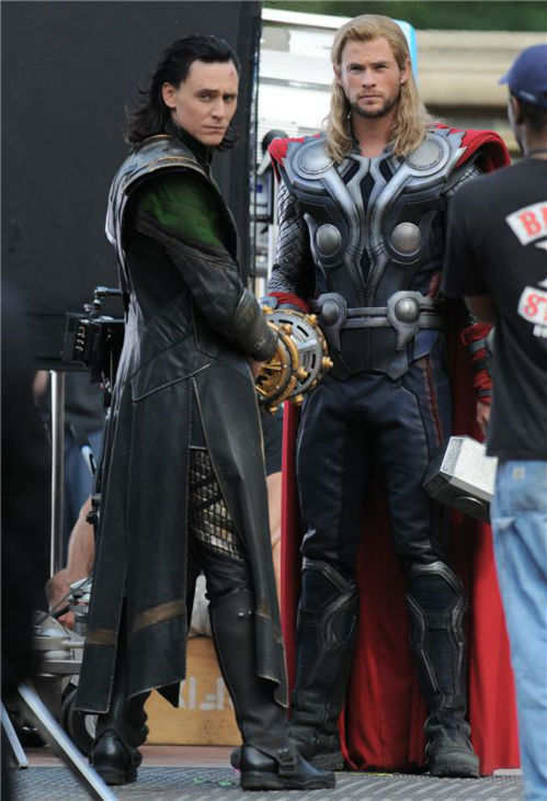 Tom Hiddleston appears as Loki with Chris Hemsworth, who plays Thor,&#39; on the set of Marvel&#39;s &#39;The Avengers&#39; in Central Park in New York on Sept. 2, 2011. <span class=meta>(Humberto Carreno &#47; Startraksphoto.com)</span>