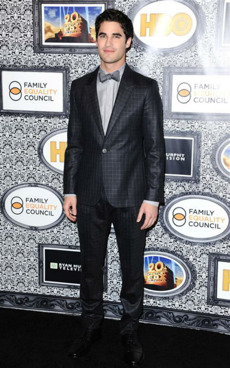 "<div class=""meta ""><span class=""caption-text "">Darren Criss (Blaine on FOX's 'Glee') appears at the Family Equality Council's Los Angeles Awards Dinner on Feb. 8, 2014. (Sara De Boer / Startraksphoto.com)</span></div>"