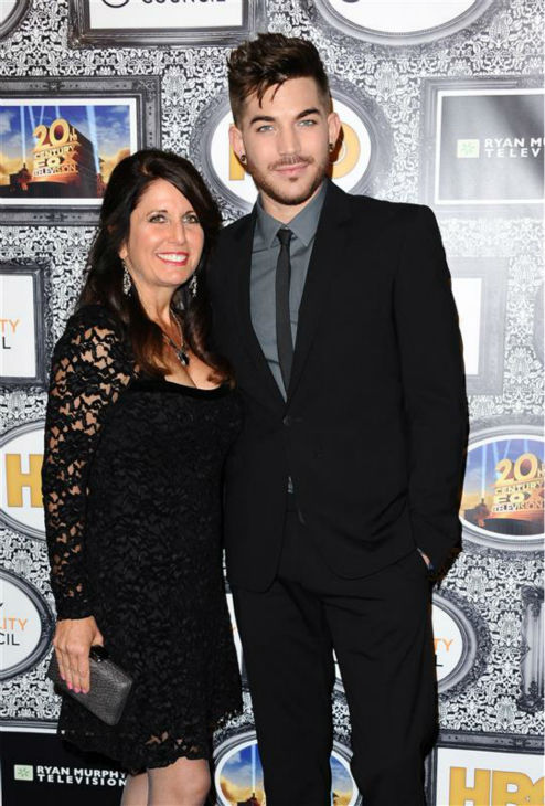 "<div class=""meta ""><span class=""caption-text "">Adam Lambert and his mother, Leila Lambert, appear at the Family Equality Council's Los Angeles Awards Dinner on Feb. 8, 2014. (Sara De Boer / Startraksphoto.com)</span></div>"