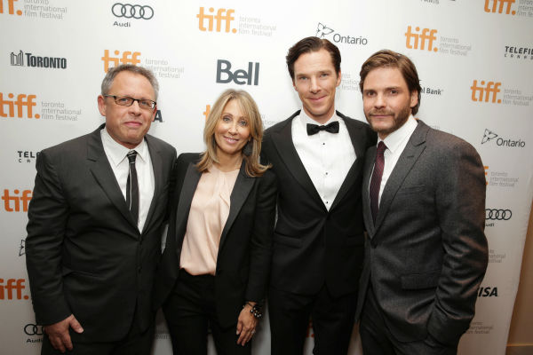 "<div class=""meta image-caption""><div class=""origin-logo origin-image ""><span></span></div><span class=""caption-text"">Director Bill Condon, Stacey Snider, Partner, co-chairman and CEO of DreamWorks, Benedict Cumberbatch and Daniel Bruhl appear at the premiere of 'The Fifth Estate' at the 2013 Toronto International Film Festival in Toronto on Sept. 5, 2013. (Eric Charbonneau / Invision for DreamWorks Pictures / AP Images)</span></div>"