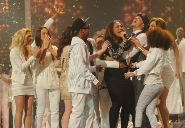 "<div class=""meta ""><span class=""caption-text "">Melanie Amaro is surrounded by former contestants after she is announced the winner of the FOX show 'The X Factor' on Dec. 22, 2011. (Ray Mickshaw / FOX)</span></div>"