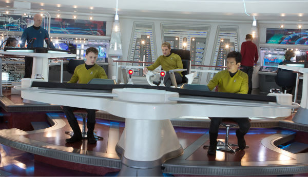 Anton Yelchin (Chekov) and John Cho (Sulu) appear in a scene from the 2013 film 'Star Trek Into Darkness.'