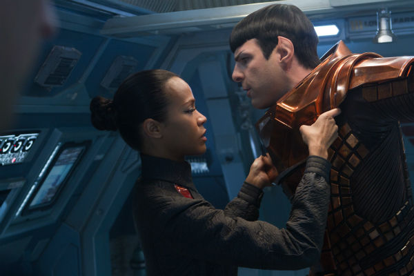 "<div class=""meta ""><span class=""caption-text "">Zachary Quinto (Spock) and Zoe Saldana (Uhura) appear in a scene from the 2013 film 'Star Trek Into Darkness.' (Zade Rosenthal / Paramount Pictures)</span></div>"