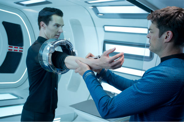 "<div class=""meta image-caption""><div class=""origin-logo origin-image ""><span></span></div><span class=""caption-text"">Benedict Cumberbatch (John Harrison) and Karl Urban (Bones) appear in a scene from the 2013 film 'Star Trek Into Darkness.' (Zade Rosenthal / Paramount Pictures)</span></div>"