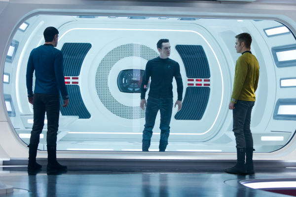 "<div class=""meta ""><span class=""caption-text "">Benedict Cumberbatch (John Harrison) stands in front of Zacahary Quinto (Spock) and Chris Pine (Kirk) appear in a scene from the 2013 film 'Star Trek Into Darkness.' (Zade Rosenthal / Paramount Pictures)</span></div>"