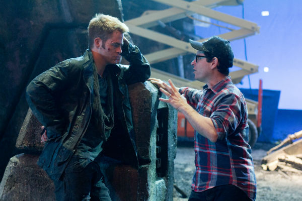 Director J.J. Abrams talks to Chris Pine &#40;Kirk&#41; on the set of the 2013 film &#39;Star Trek Into Darkness.&#39; <span class=meta>(Zade Rosenthal &#47; Paramount Pictures)</span>