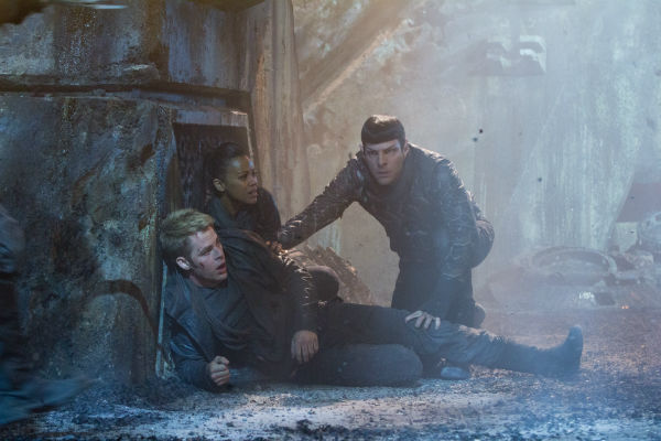 Chris Pine &#40;Kirk&#41;, Zoe Saldana &#40;Uhura&#41; and Zachary Quinto &#40;Spock&#41; appear in a scene from the 2013 film &#39;Star Trek Into Darkness.&#39; <span class=meta>(Zade Rosenthal &#47; Paramount Pictures)</span>