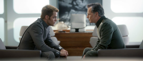 "<div class=""meta ""><span class=""caption-text "">Chris Pine (Kirk) and Bruce Greenwood (Pike) appear in a scene from the 2013 film 'Star Trek Into Darkness.' (Jaimie Trueblood / Paramount Pictures)</span></div>"