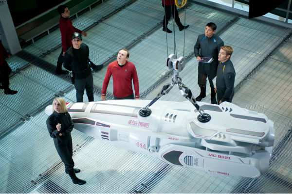 Alice Eve &#40;Carol&#41;, Simon Pegg &#40;Scotty&#41;, Chris Pine &#40;Kirk&#41; and others appear in a scene from the 2013 film &#39;Star Trek Into Darkness.&#39; <span class=meta>(Jaimie Trueblood &#47; Paramount Pictures)</span>