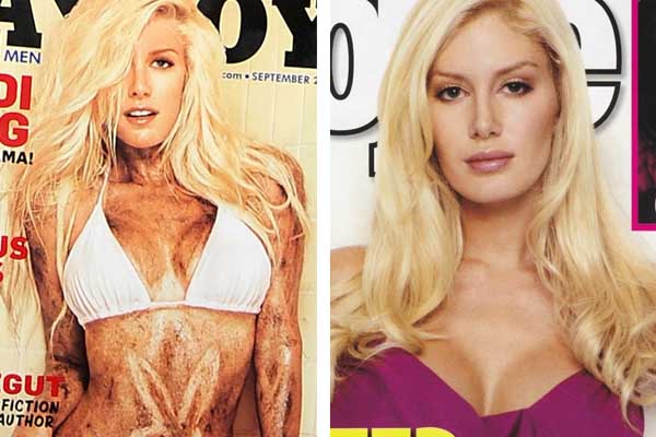 Pictured: To the left, Heidi Montag is pictured on the cover of Playboy magazine.  At right, Heidi Montag is seen in an article in People magazine.