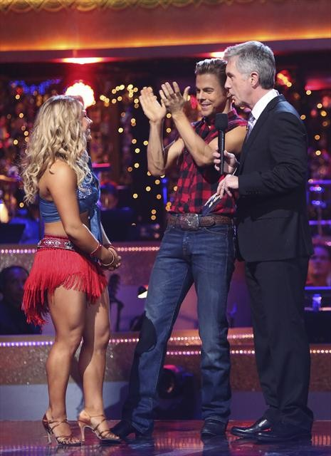 Olympic gymnast Shawn Johnson and her partner Derek Hough react to being safe from elimination on &#39;Dancing With The Stars: The Results Show&#39; on October 30, 2012. The two received 28 out of 30 points from the judges for their Cha Cha Cha on &#39;Dancing With The Stars: All-Stars,&#39; which aired on October 29, 2012 <span class=meta>(ABC Photo)</span>