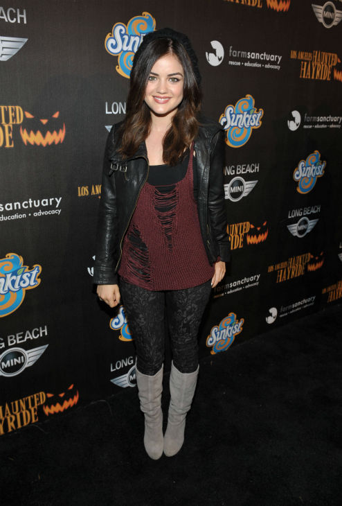 Lucy Hale attends the 4th Annual Los Angeles Haunted Hayride VIP Premiere Night held at Griffith Park on Sunday, Oct. 7, 2012.