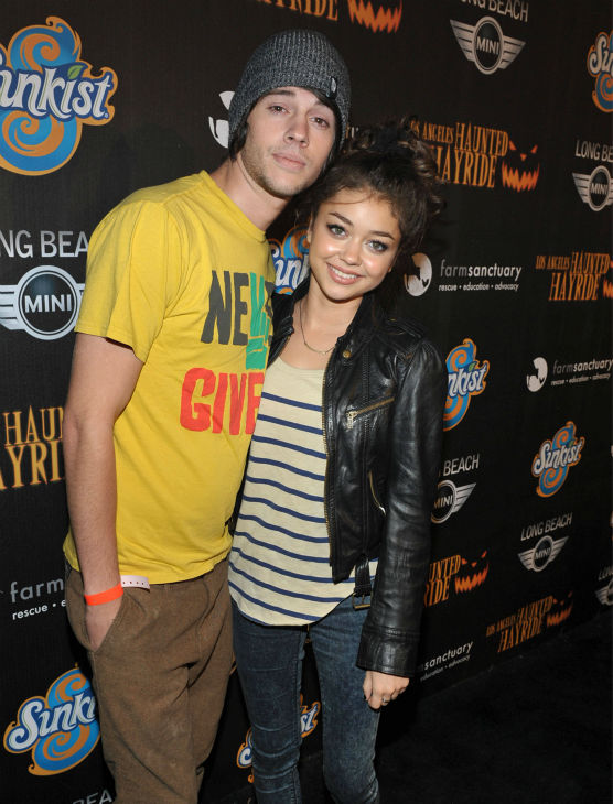 Matt Prokop and Sarah Hyland attend the 4th Annual Los Angeles Haunted Hayride VIP Premiere Night held at Griffith Park on Sunday, Oct. 7, 2012.