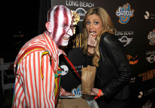 Erin Andrews attends the 4th Annual Los Angeles Haunted Hayride VIP Premiere Night held at Griffith Park on Sunday, Oct. 7, 2012. <span class=meta>(Photo&#47;John Shearer)</span>