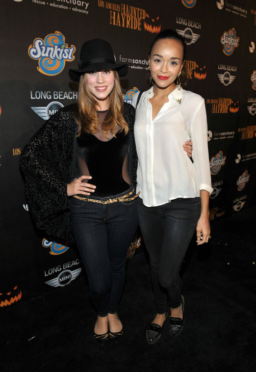 Christa B. Allen and Ashley Madekwe of 'Revenge' attend the 4th Annual Los Angeles Haunted Hayride VIP Premiere Night held at Griffith Park on Sunday, Oct. 7, 2012.
