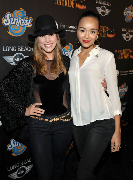 Christa B. Allen and Ashley Madekwe of &#39;Revenge&#39; attend the 4th Annual Los Angeles Haunted Hayride VIP Premiere Night held at Griffith Park on Sunday, Oct. 7, 2012. <span class=meta>(John Shearer&#47;Invision for LAHH&#47;AP Images)</span>