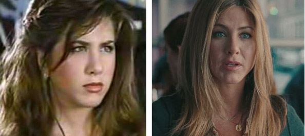 Pictured:  To the left, Jennifer Aniston appears in a scene from 'Ferris Bueller's Day Off' in 1991.  At right, she appears in a scene from 'The Switch' in 2010.