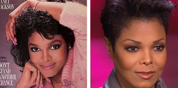"<div class=""meta ""><span class=""caption-text "">Janet Jackson has said that she got a nose job when she was 16.  Pictured:  To the left, Janet Jackson appears on the cover of her first album in 1982.  At right, she appears in a scene from 'For Colored Girls' in 2010.It is unclear whether Janet Jackson underwent cosmetic procedures prior to appearing on the cover of her first album. (Angela Winbush / 34th Street Films)</span></div>"