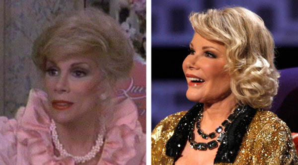 Pictured: To the left, Joan Rivers appears in a scene from 'The Swimmer' in 1968.  At right, she appears on stage at her Comedy Central Roast.
