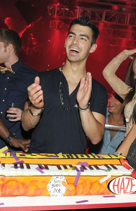 Joe Jonas celebrates his birthday with a keyboard-shaped birthday cake at HAZE Nightclub at ARIA in CityCenter on August 13, 2011 in Las Vegas, Nevada.