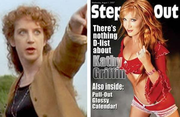 Kathy Griffin frequently discusses her plastic surgery while performing stand-up comedy.  She has admitted to a nose job, facelift, eye job, brow lift a facial peel and liposuction.  Pictured: To the left, Kathy Griffin appears in a scene from &#39;Pulp Fiction&#39; in 1994.  At right, she appears on the cover of Steppin&#39; Out magazine.It is unclear whether Kathy Griffin had undergone cosmetic procedures prior to appearing in a scene from &#39;Pulp Fiction.&#39; <span class=meta>(A Band Apart &#47; Steppin&#39; Out)</span>