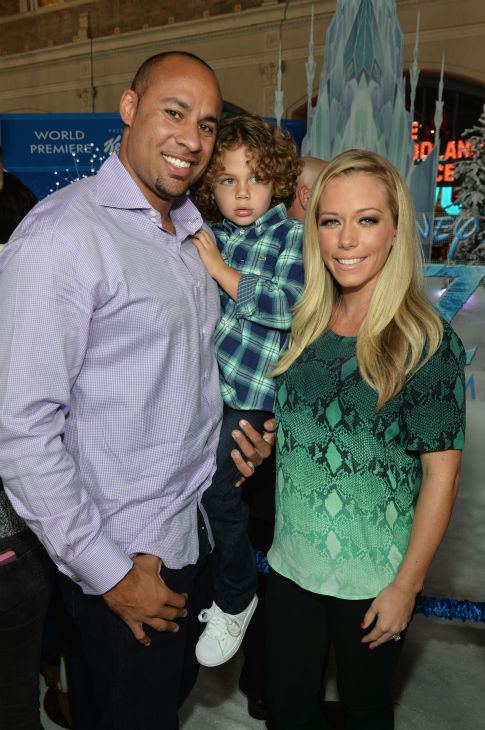 Athlete Hank Baskett, son Hank Baskett IV and wife and reality TV star Kendra Wilkinson attend the premiere of Disney&#39;s &#39;Frozen&#39; at the El Capitan Theatre in Los Angeles on Nov. 19, 2013. <span class=meta>(Alberto E. Rodriguez &#47; WireImage for Walt Disney Studios)</span>