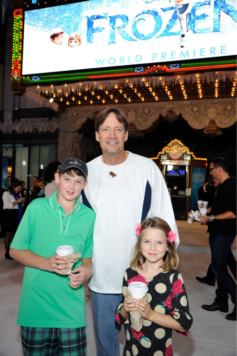 Kevin Sorbo of 'Hercules: The Legendary Journey's fame and his children attend the premiere of Disney's 'Frozen' at the El Capitan Theatre in Los Angeles on Nov. 19, 2013.