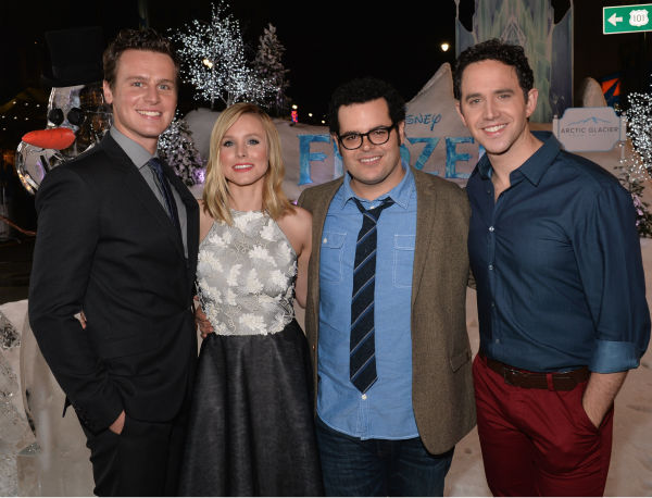 LOS ANGELES, CA - NOVEMBER 19:  Actors Jonathan Groff, Kristen Bell, Josh Gad and Santino Fontana attend The World Premiere of Walt Disney Animation Studios&#39; &#34;Frozen&#34; at El Capitan Theatre on November 19, 2013 in Los Angeles, California.  &#40;Photo by Alberto E. Rodriguez&#47;WireImage&#41; *** Local Caption *** Jonathan Groff; Kristen Bell; Santino Fontana <span class=meta>(Alberto E. Rodriguez &#47; WireImage for Walt Disney Studios)</span>