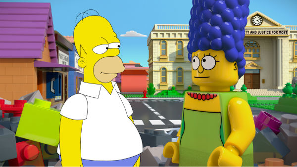 Homer Simpson and wife Marge are depicted in LEGO form in episode No. 550 of the FOX animated series &#39;The Simpsons,&#39; &#39;Brick Like Me,&#39; which aired on May 4, 2014. On the show, Homer wakes up in a world where his family, friends and other residents of Springfield are made of LEGOs. <span class=meta>(FOX)</span>