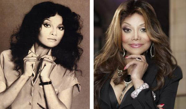 Pictured: To the left, La Toya Jackson appears on the cover of her first record, self-titled, in 1980. At right, La Toya Jackson appears in an advertisement for 'The Apprentice.'