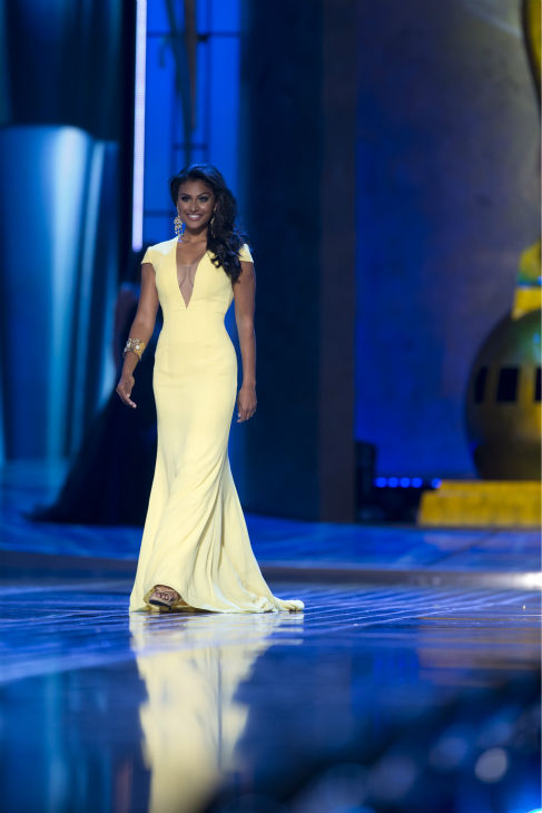 Nina Davuluri, Miss New York, walks the runway at the Miss America 2014 pageant in Atlantic City, New Jersey on Sept. 15, 2013.