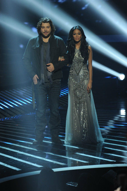 Josh Krajcik (L) and his mentor, co-judge Nicole Scherzinger (R), appear on stage on 'The X Factor' finale on Dec. 22, 2011.
