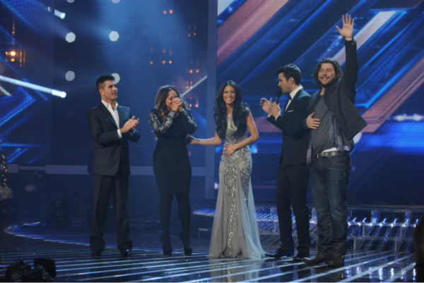 "<div class=""meta image-caption""><div class=""origin-logo origin-image ""><span></span></div><span class=""caption-text"">Finale: L-R: Simon Cowell, Melanie Amaro, Nicole Scherzinger, Steve Jones and Josh Krajcik appear on 'The X Factor' finale on Dec. 22, 2011. (Ray Mickshaw / FOX)</span></div>"