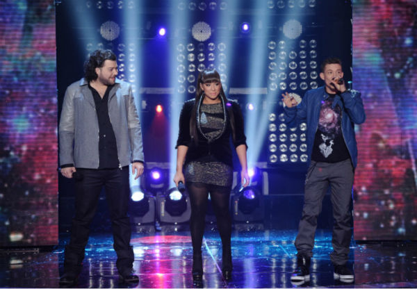L-R: Top 3 finalists Josh Krajcik, Melanie Amaro and Chris Rene perform on 'The X Factor' on Dec. 22, 2011.