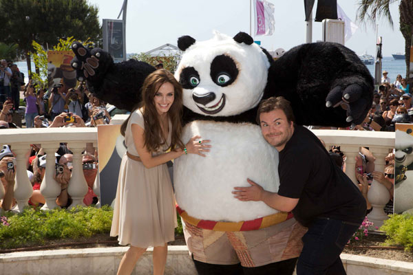 Jack Black (Po) and Angelina Jolie (Tigress) dazzle the crowds at a photo call in Cannes, France to celebrate DreamWorks Animation's 'Kung Fu Panda 2,' which will be released by Paramount Pictures on Thursday, May 26, 2011.