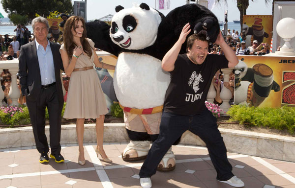 Jack Black (Po), Angelina Jolie (Tigress) and Dustin Hoffman (Shifu) dazzle the crowds at a photo call in Cannes, France to celebrate DreamWorks Animation's 'Kung Fu Panda 2,' which will be released by Paramount Pictures on Thursday, May 26, 2011.