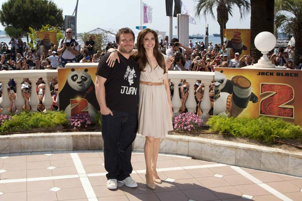 Jack Black (Po) and Angelina Jolie (Tigress)...
