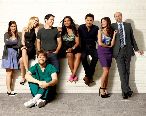 Zoe Jarman, Anna Camp, Ike Barinholtz, Chris Messina, Mindy Kaling, Ed Weeks, Amanda Setton and Stephen Tobolowsky appear in a promotional photo from the FOX show 'The Mindy Project.'