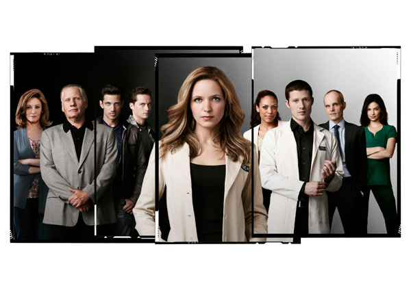 Wendy Makkena, William Forsythe, James Carpinello, Jesse Lee Soffer, Jordana Spiro, Jaime Lee Kirchner, Zach Gilford, Zeljko Ivanek and Floriana Lima appear in a promotional photo for 'The Mob Doctor.'