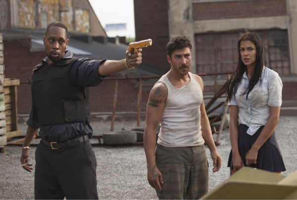 L-R: RZA, David Belle and Catalina Denis appear in a scene from the 2014 action movie &#39;Brick Mansions.&#39; RZA plays a villain, the drug kingpin Tremaine, who is in possession of a weapon of mass destruction. Belle plays an ex-con and Denis plays his girlfriend, who RZA kidnaps. <span class=meta>(Philippe Bosse &#47; Relativity Media &#47; EuropaCorp &#47;Transfilm International Inc.)</span>