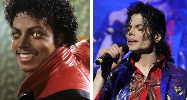 Pictured: To the left, Michael Jackson appears in the music video for the song 'Thriller' in 1982.  At right, Michael Jackson appears in the movie, 'This Is It' in 2009.