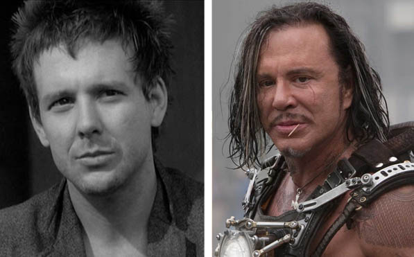 Pictured: To the left, Mikey Rourke appears in the film 'Rumble Fish' in 1983.  At right, Mickey Rourke app