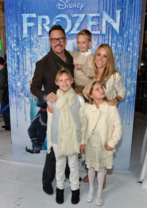 Actor Matthew Lillard, wife Heather Helm and their children attend the premiere of Disney's 'Frozen' at the El Capitan Theatre in Los Angeles on Nov. 19, 2013.