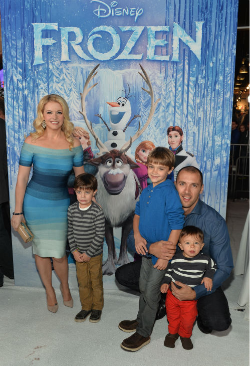 Melissa Joan Hart, husband Mark Wilkerson and their children attend the premiere of Disney's 'Frozen' at the El Capitan Theatre in Los Angeles on Nov. 19, 2013.