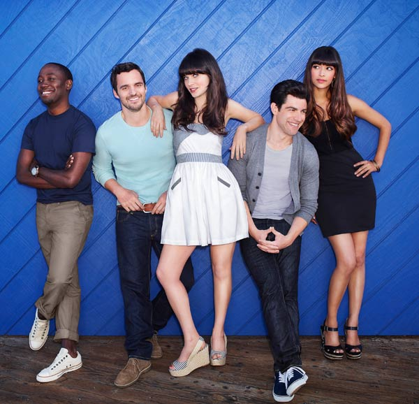 Lamorne Morris, Jake Johnson, Zooey Deschanel, Max Greenfield and Hannah Simone appear in a promotional photo from the FOX show 'New Girl.'