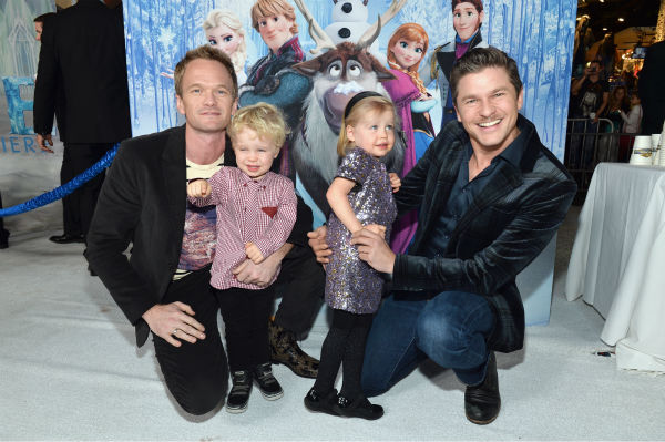 Neil Patrick Harris, partner David Burtka and their twins, Harper and Gideon, attend the premiere of Disney's 'Frozen' at the El Capitan Theatre in Los Angeles on Nov. 19, 2013.