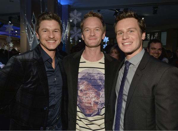 L-R: David Burtka, partner and actor Neil Patrick Harris and &#39;Frozen&#39; star Jonathan Groff of &#39;Glee&#39; fame attend an after party following the premiere of &#39;Frozen,&#39; a Disney animated film, in Los Angeles on Nov. 19, 2013. <span class=meta>(Alberto E. Rodriguez &#47; WireImage for Walt Disney Studios)</span>