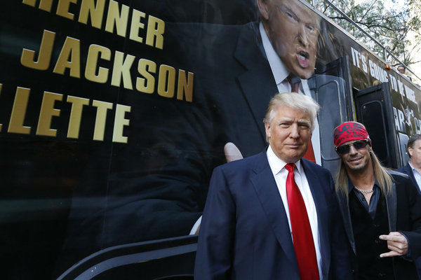 "<div class=""meta ""><span class=""caption-text "">Bret Michaels and Donald Trump appear at an event announcing the cast of the host and real estate mogul's NBC show 'All Star Celebrity Apprentice' in New York City on Oct. 12, 2012. Michaels, lead singer of the rock band Poison, won season 9 in 2010 and is a returning contestant. (NBC Photo / Heidi Gutman)</span></div>"