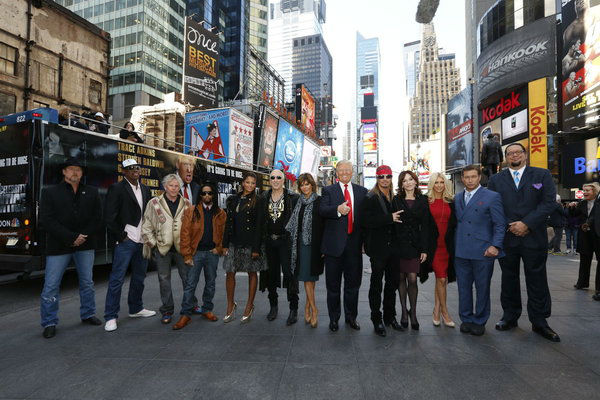 The cast of NBC&#39;s &#39;All Star Celebrity Apprentice&#39; - Trace Adkins, Dennis Rodman, Gary Busey, Lil Jon, Claudia Jordan, Dee Snider, Lisa Rinna, Donald Trump &#40;host&#41;, Bret Michaels, Marilu Henner, Brande Roderick, Stephen Baldwin and Penn Jillette - appear at an event announcing the new season in New York City on Oct. 12, 2012. <span class=meta>(NBC Photo &#47; Heidi Gutman)</span>
